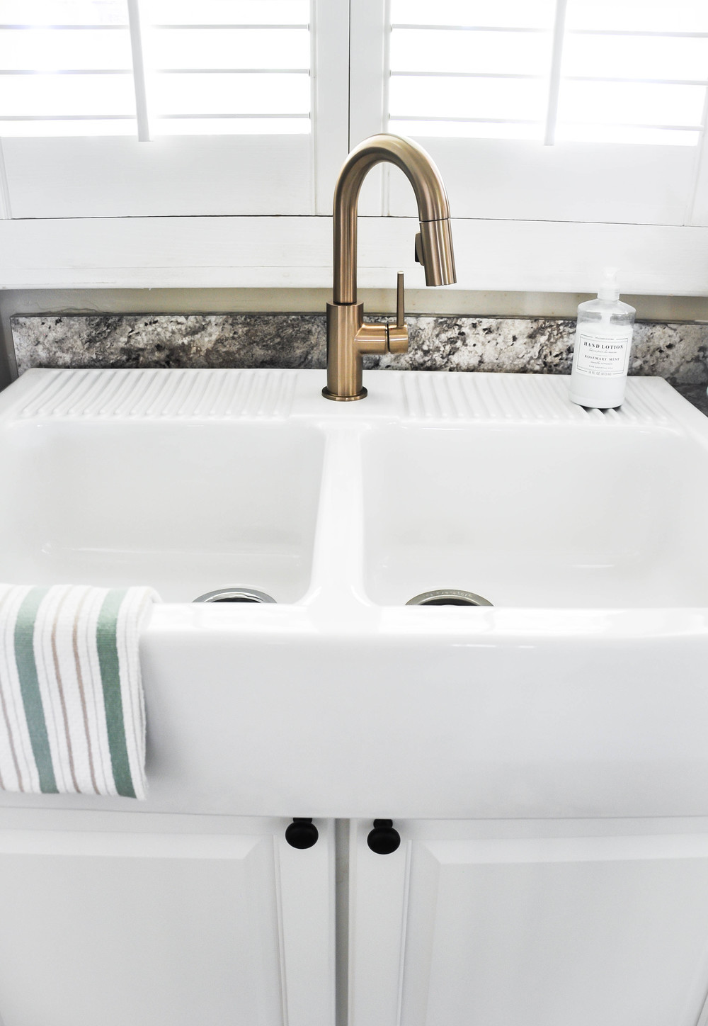 new white double sink
