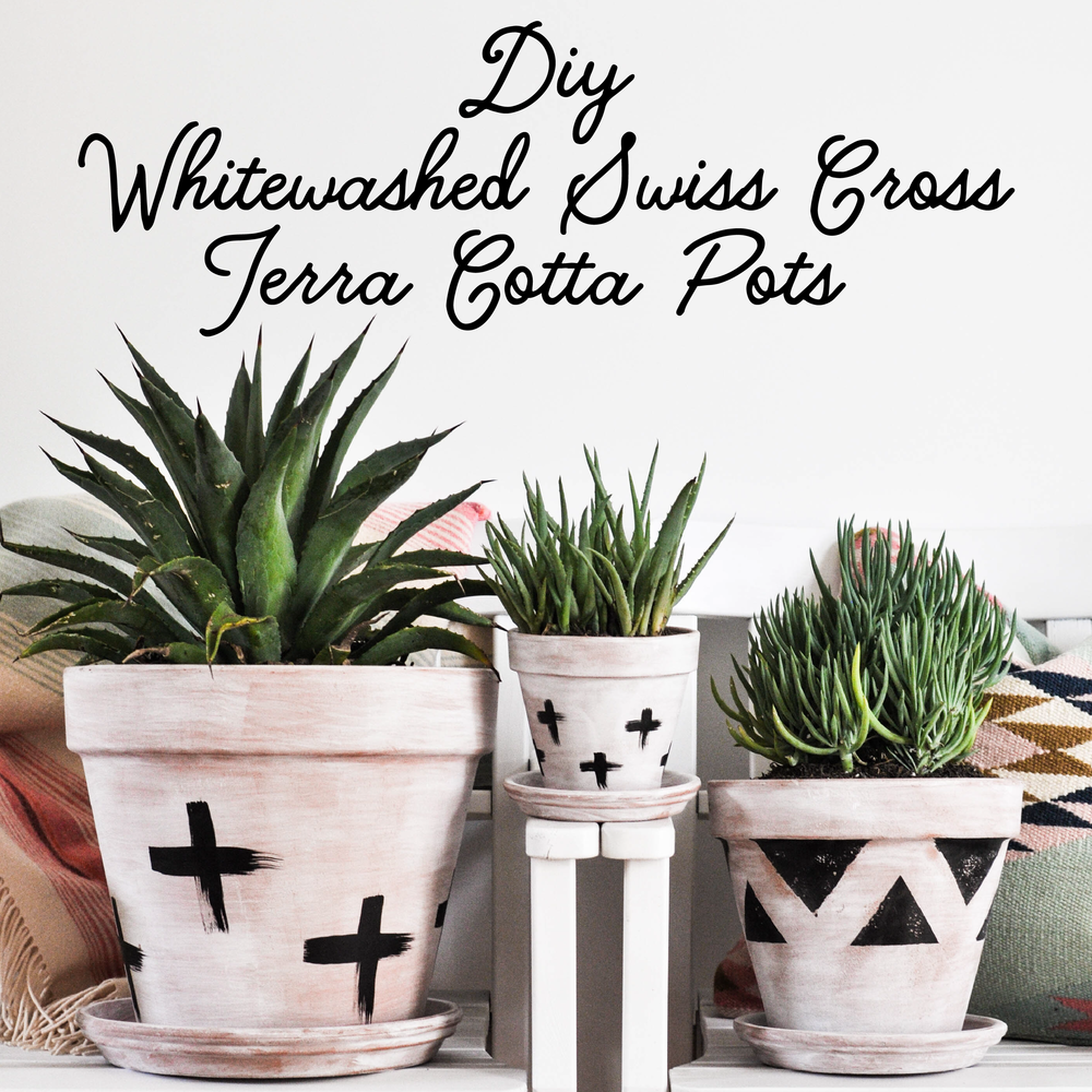 DIY terra cotta pots with crosses