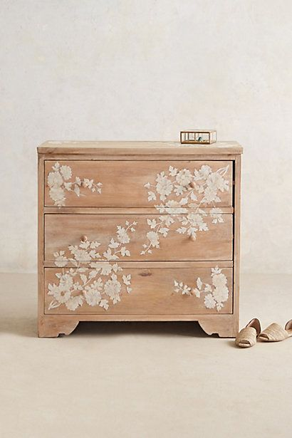anthropologie light wood floral nightstand