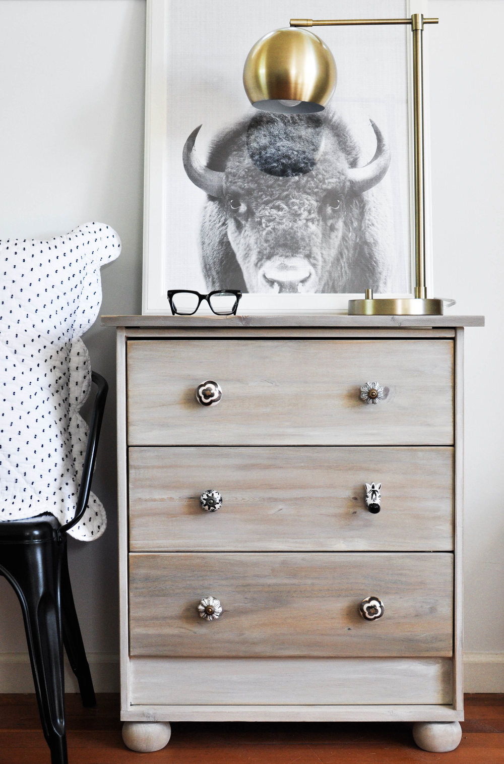 wooden nightstand decorative knobs