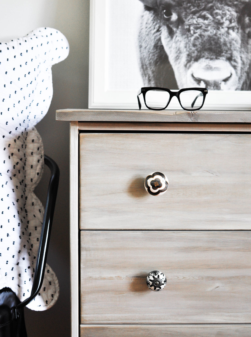 ikea nightstand with decorative knobs