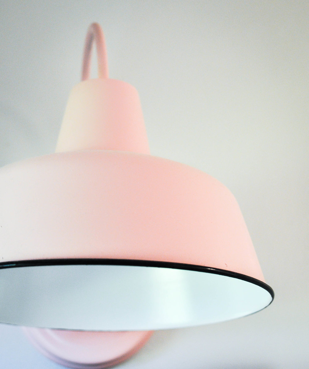 pink DIY barn light