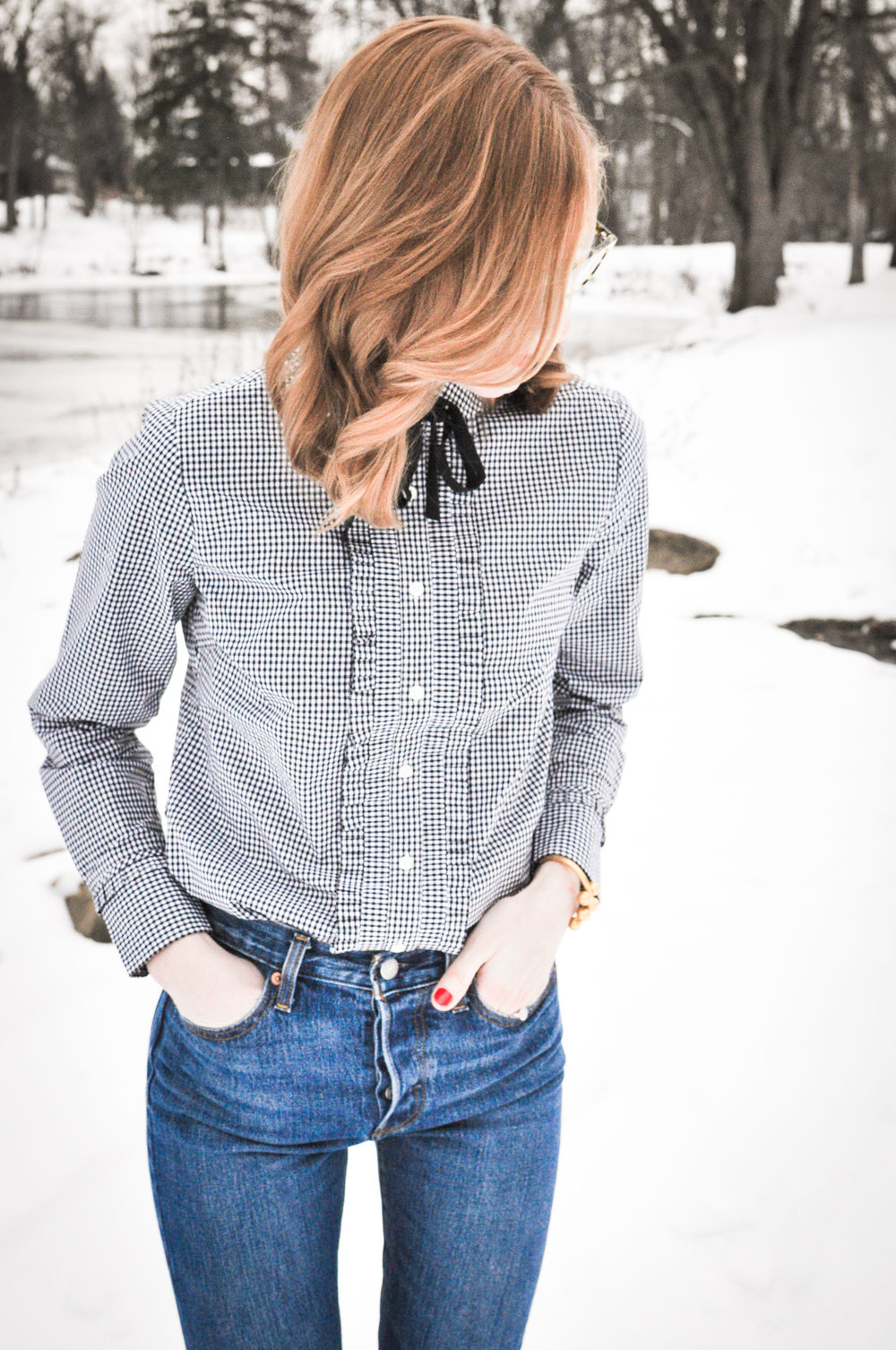 Woman in jeans during winter