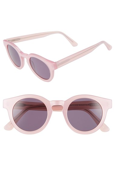 Light pink-rimmed sunglasses
