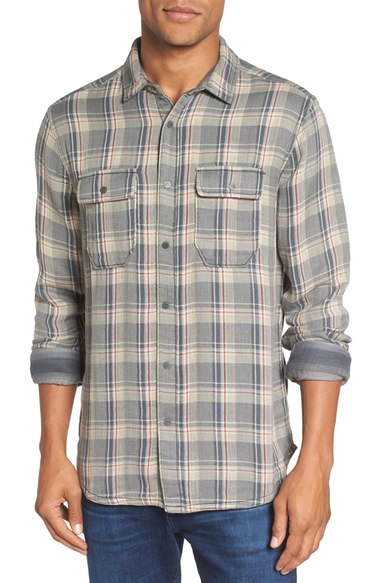 Gray plaid long-sleeved men's shirt