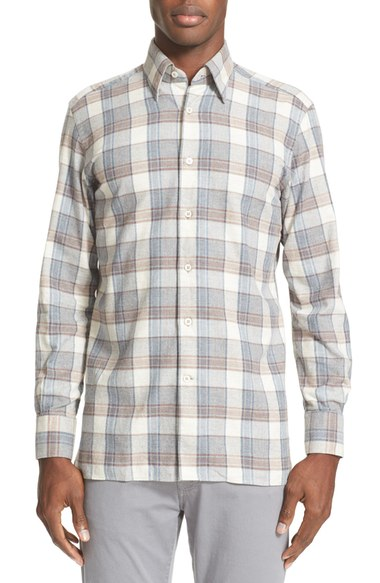 White and gray plaid men's shirt