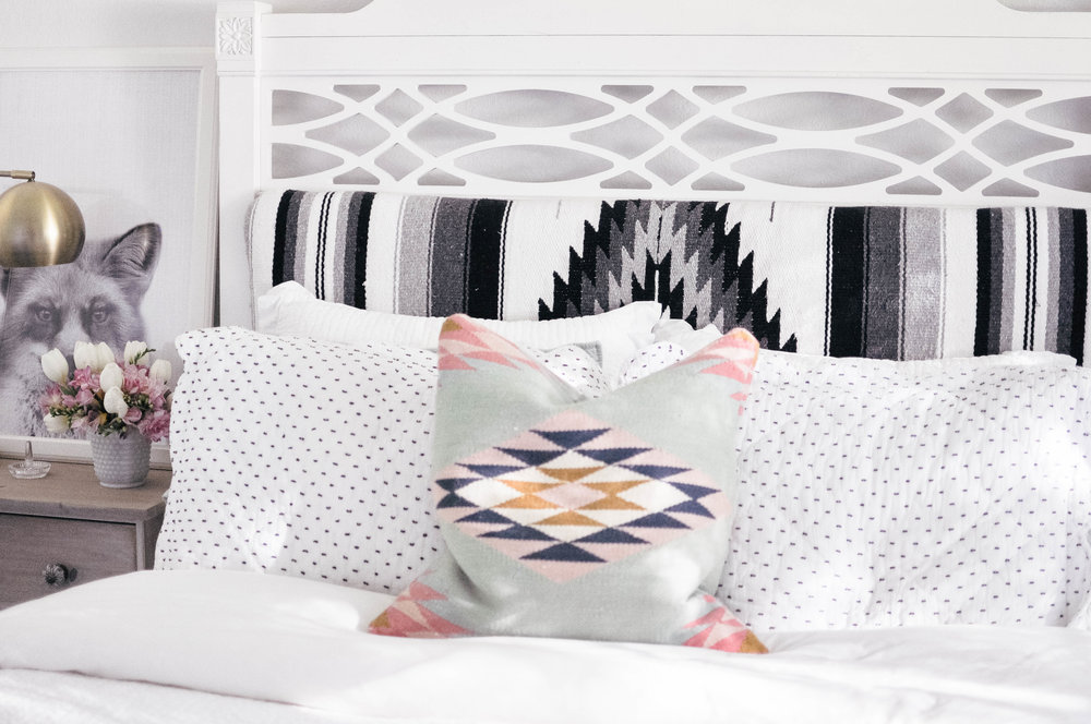 diy upholstered mexican blanket headboard and bed