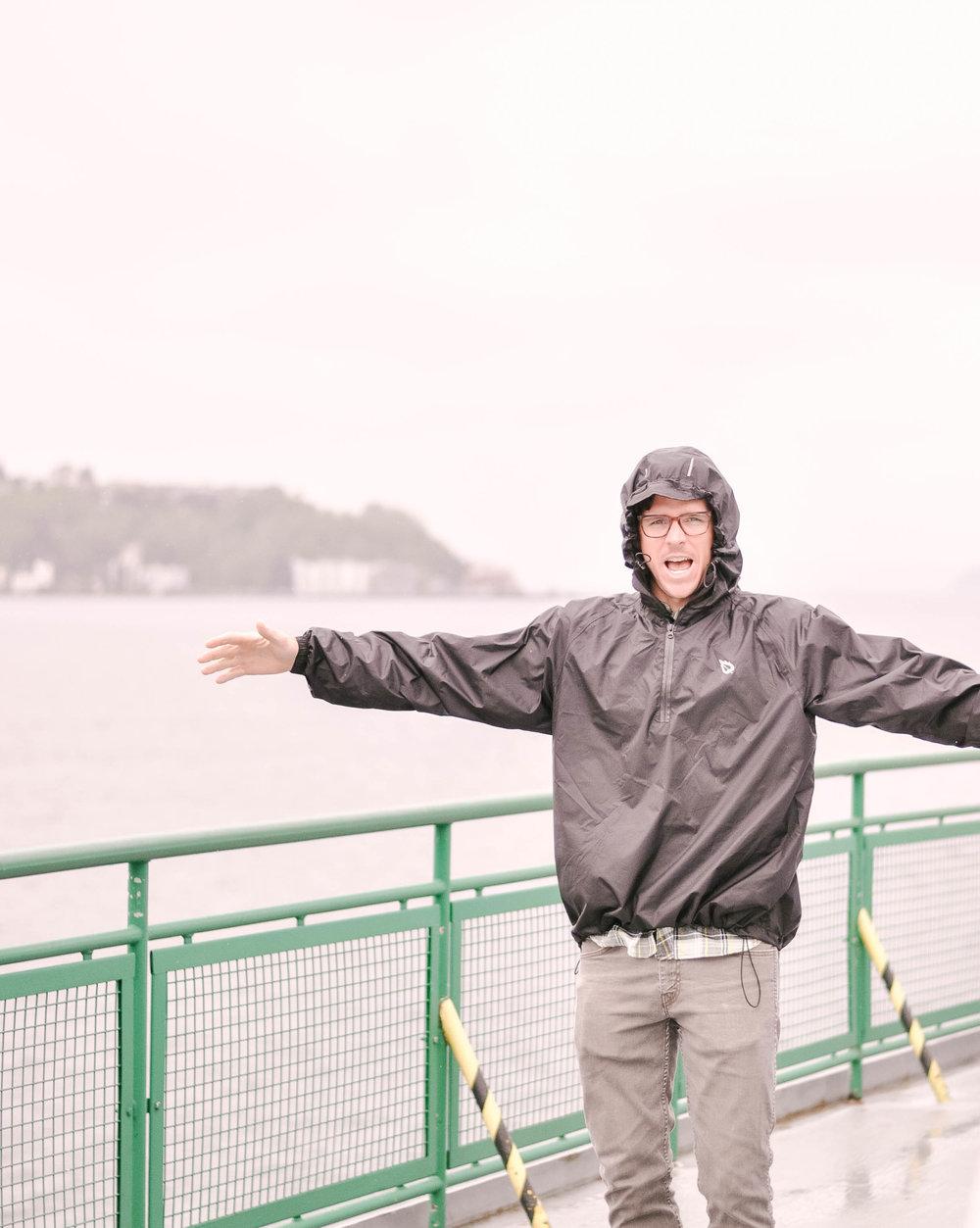 Man in raincoat on Seattle ferry