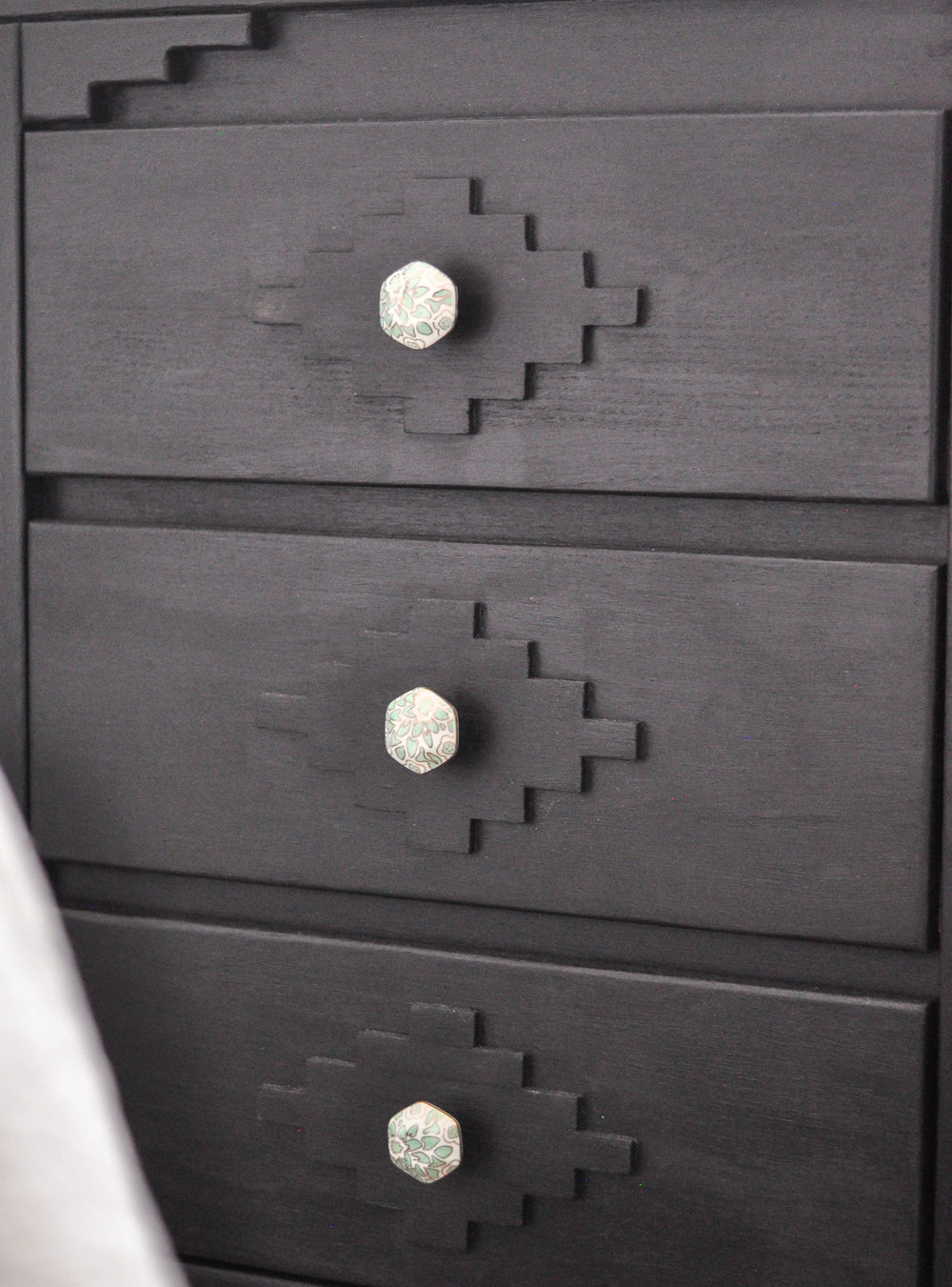 DIY black wooden dresser