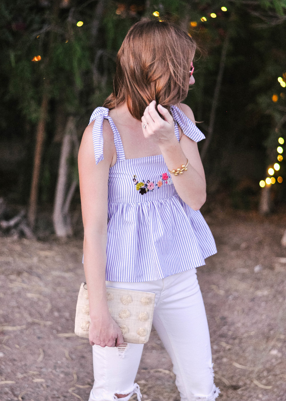 Zara Tie Shoulder Top and White Jeans