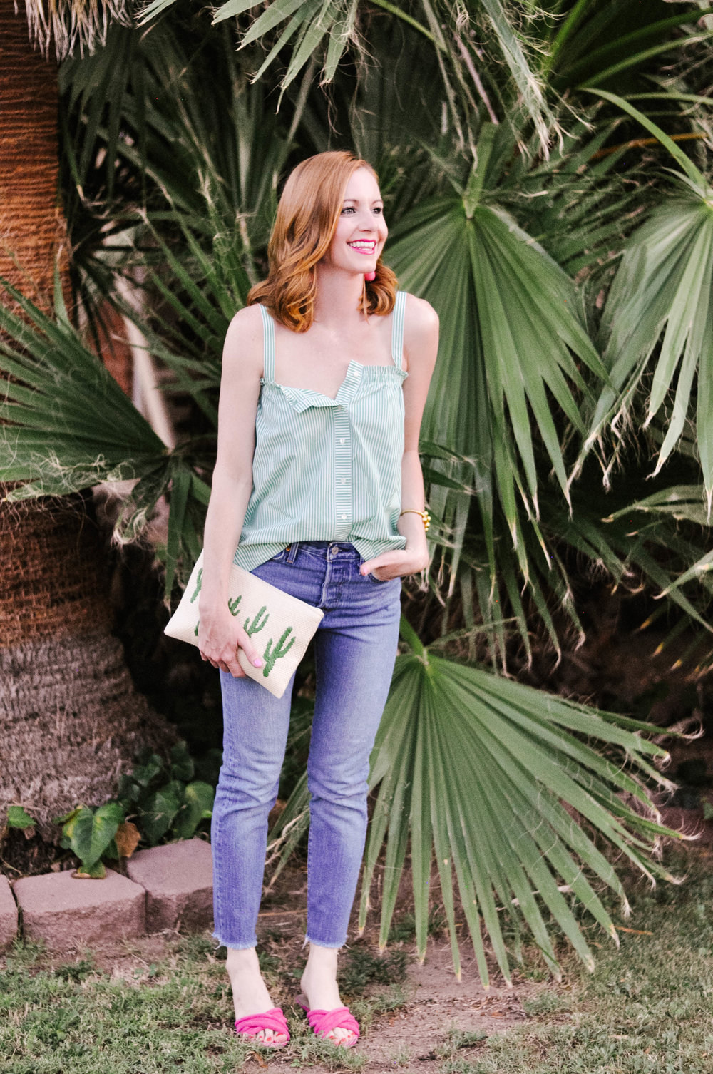 Redhead Woman Smiling in Casual Summer Outfit
