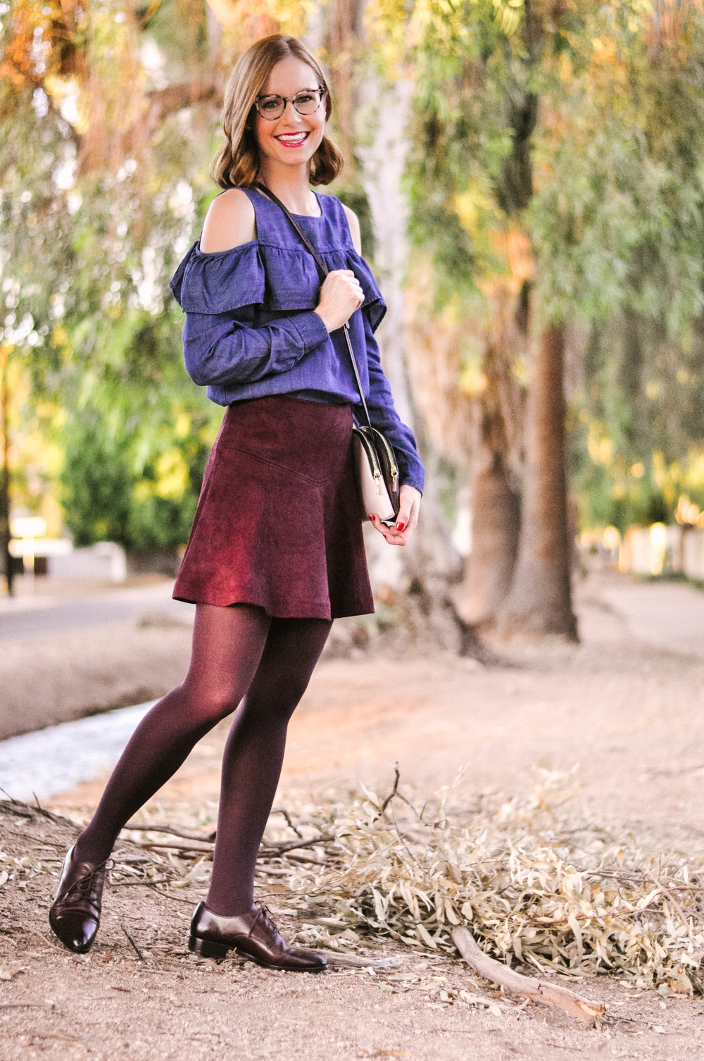 Womens Burgundy Fall Skirt