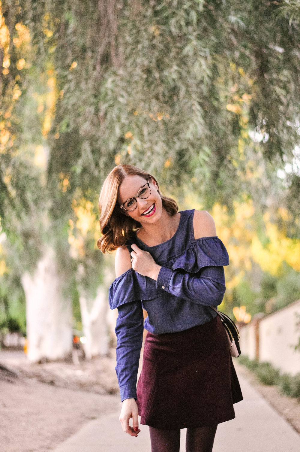 The perfect fall outfit with burgundy Jack by BB Dakota skirt and chambray Loft top