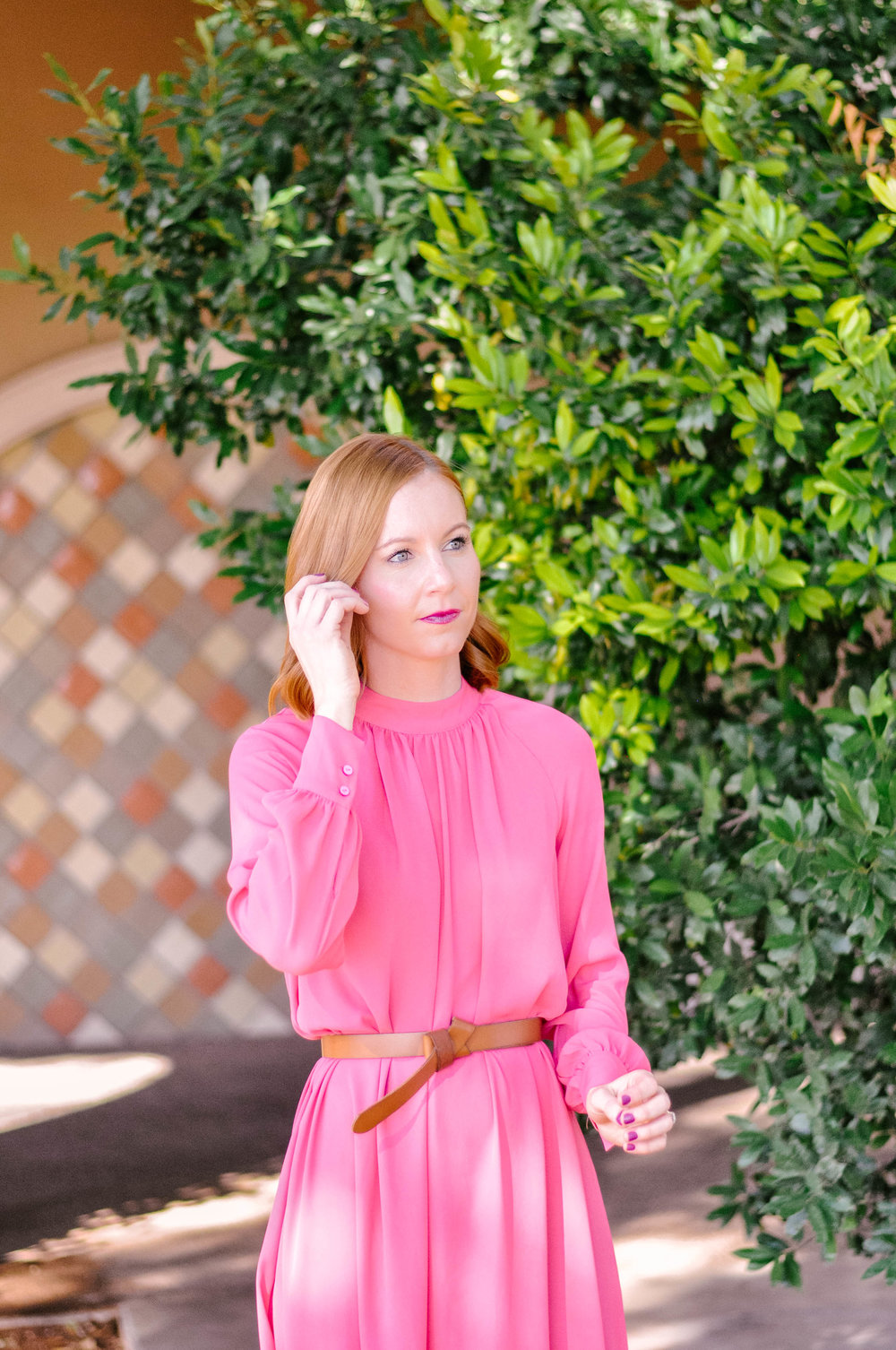 Women's Long Sleeve Pink Midi Dress