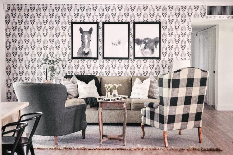 Ladwig Scandinavian Block Tulip Print Wallpaper
