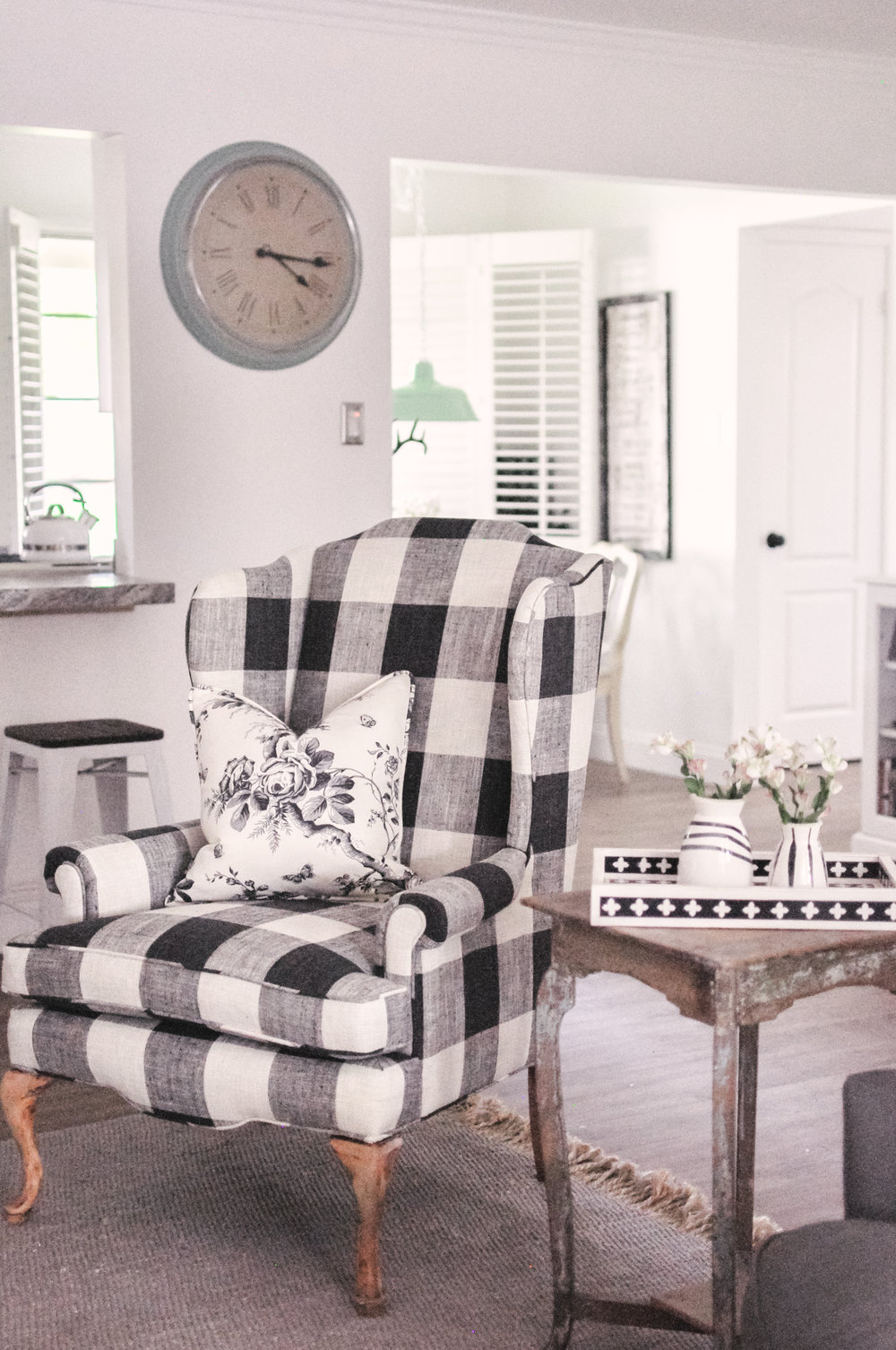 Our Farmhouse Living Room Makeover + Our Buffalo Check Chair! - Love ...