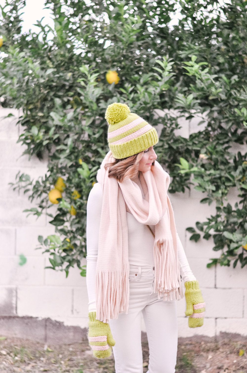 Cute Pink Winter Hat and Mittens For Women