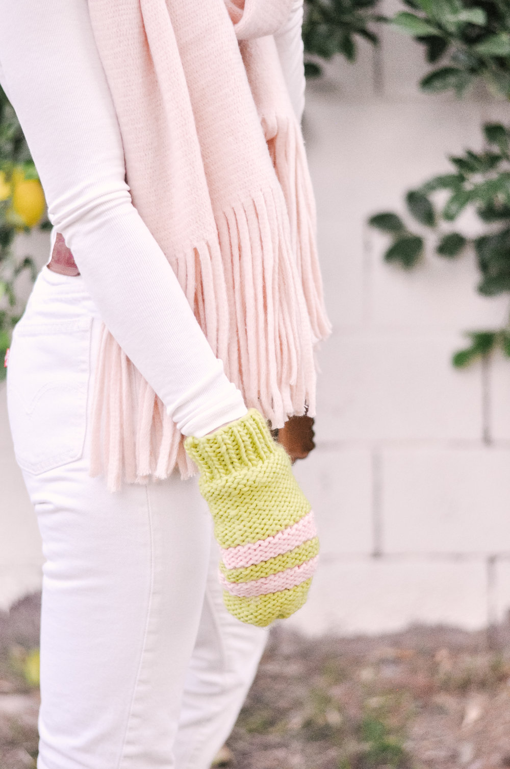 Anthropologie Pink Fringed Scarf and Lime Green and Pink Outbound Mittens
