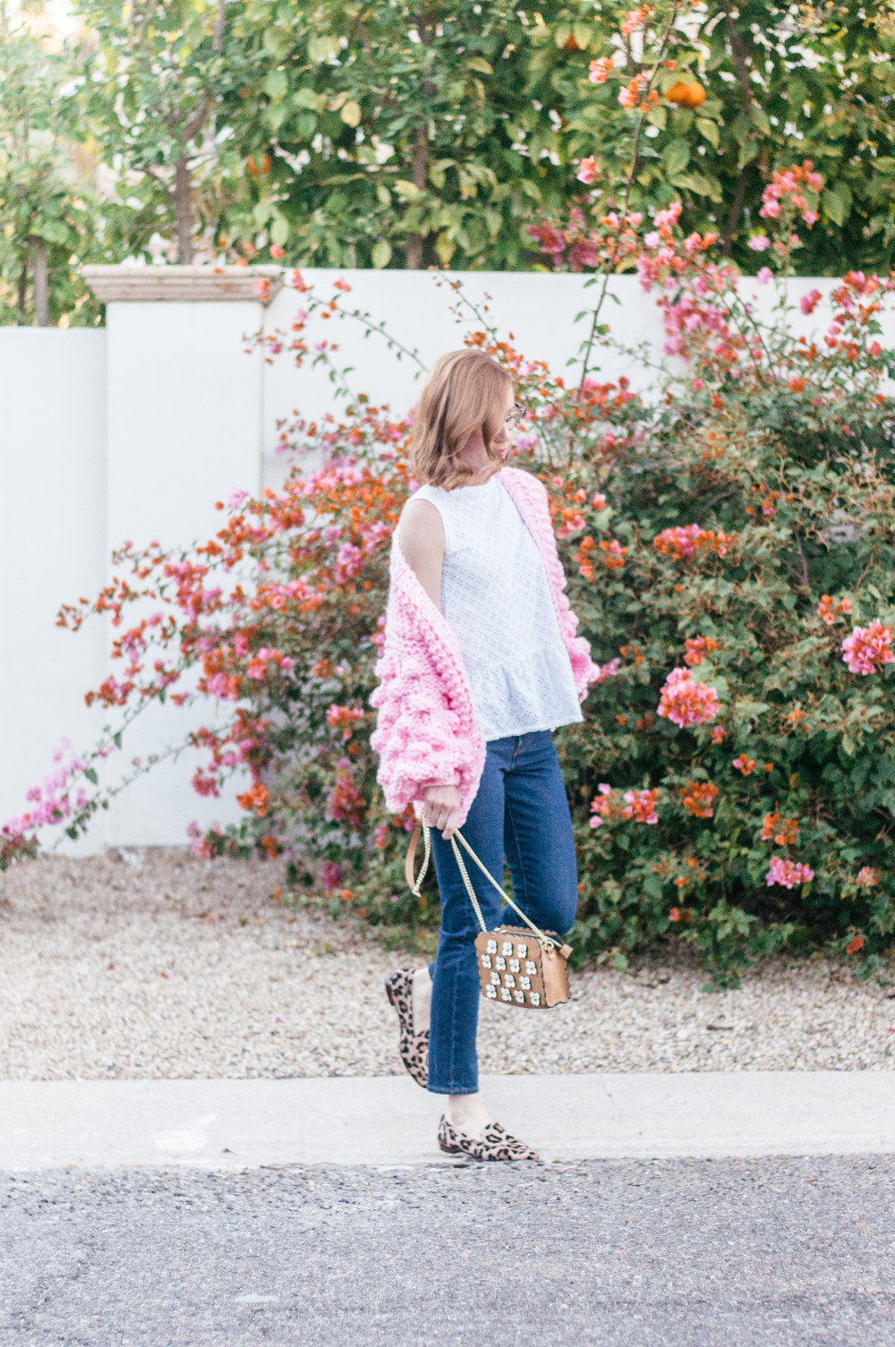 Casual Spring Outfit with Pink Chicwish Sweater, Anthropologie Eyelet Top, Levi's Wedgie Icon Jeans