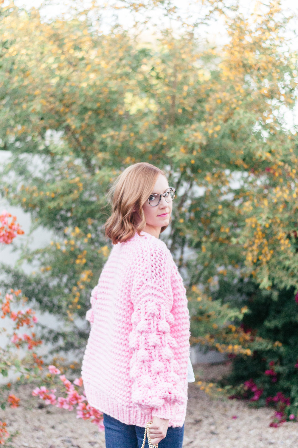 Pink Chicwish Sweater and EyeBuyDirect Notting Hill Glasses in Ivory Tortoise