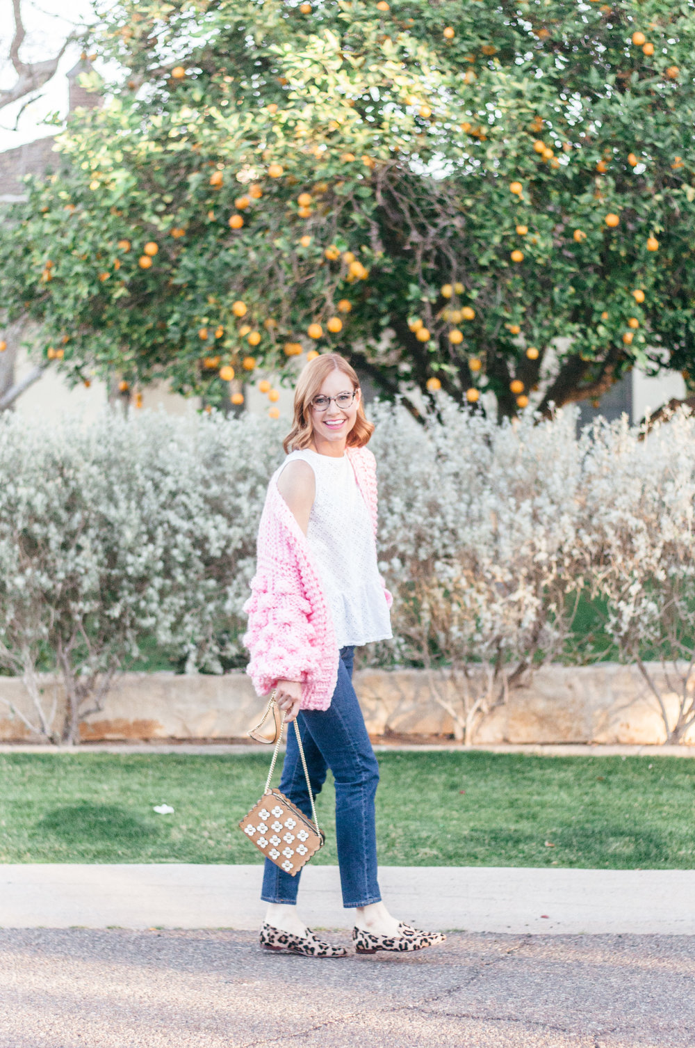 Chicwish Cuteness on Sleeves Chunky Cardigan in Candy Pink, Levi's Wedgie Icon Jeans, Anthropologie White Eyelet Peplum Top, Leopard Kate Spade Loafers