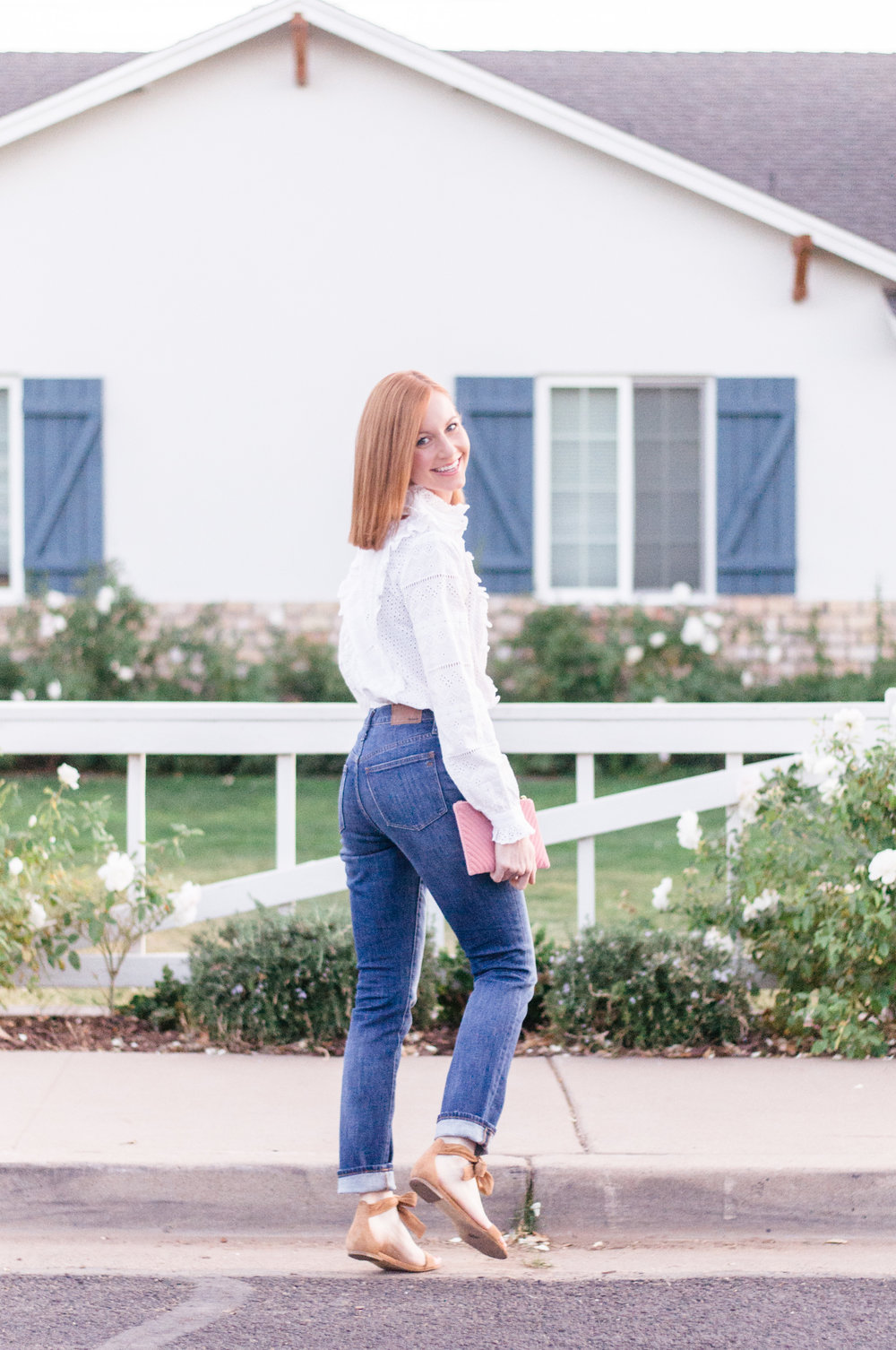 White Eyelet Top and High Waisted Madewell Jeans Spring Outfit