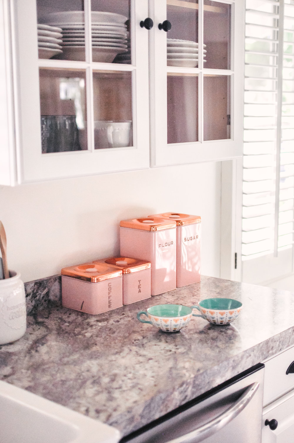 Pink Vintage Kitchen Canisters