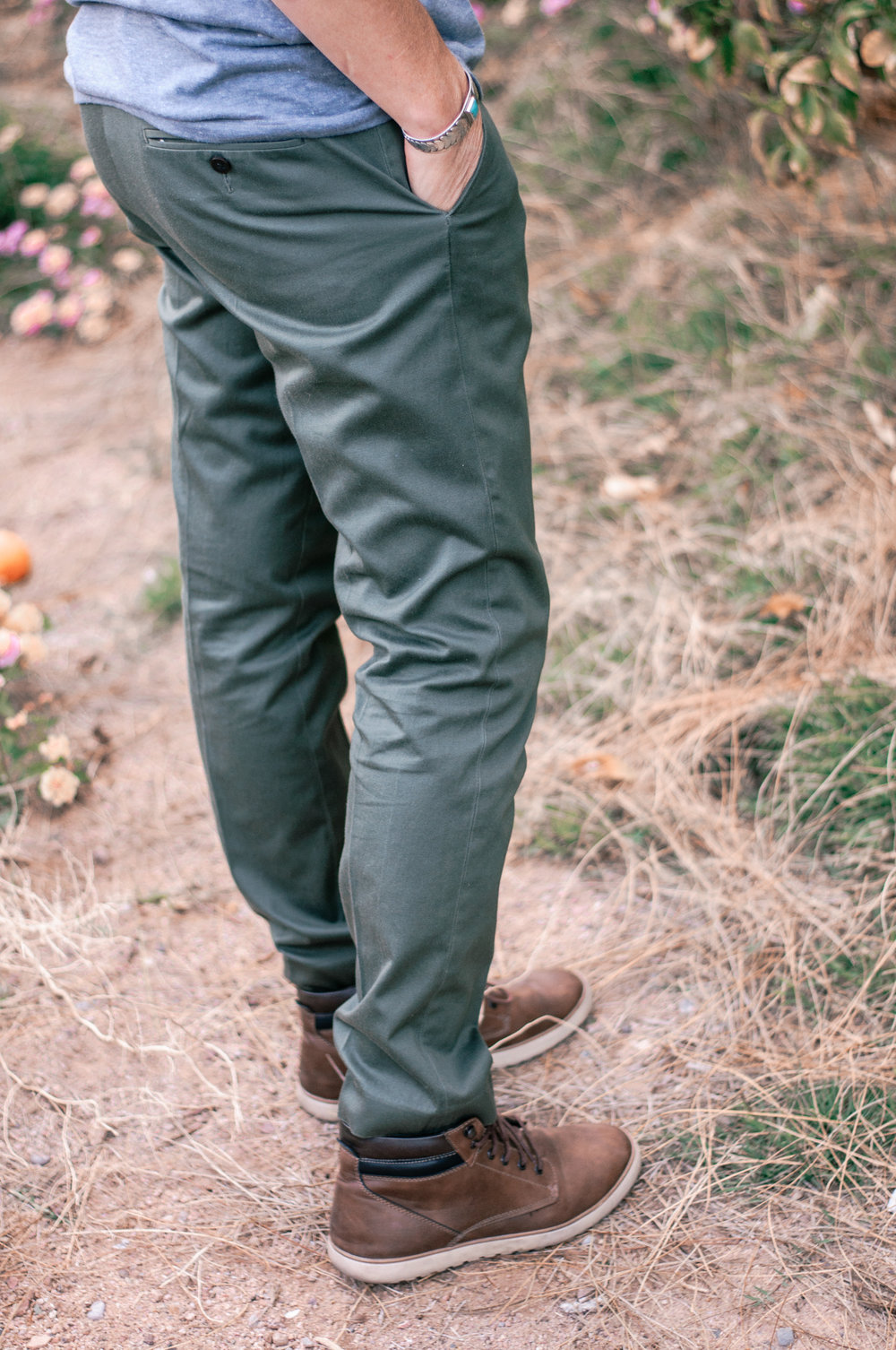 J.Crew Ludlow Stretch Chinos in Green and Goodfellow Boots