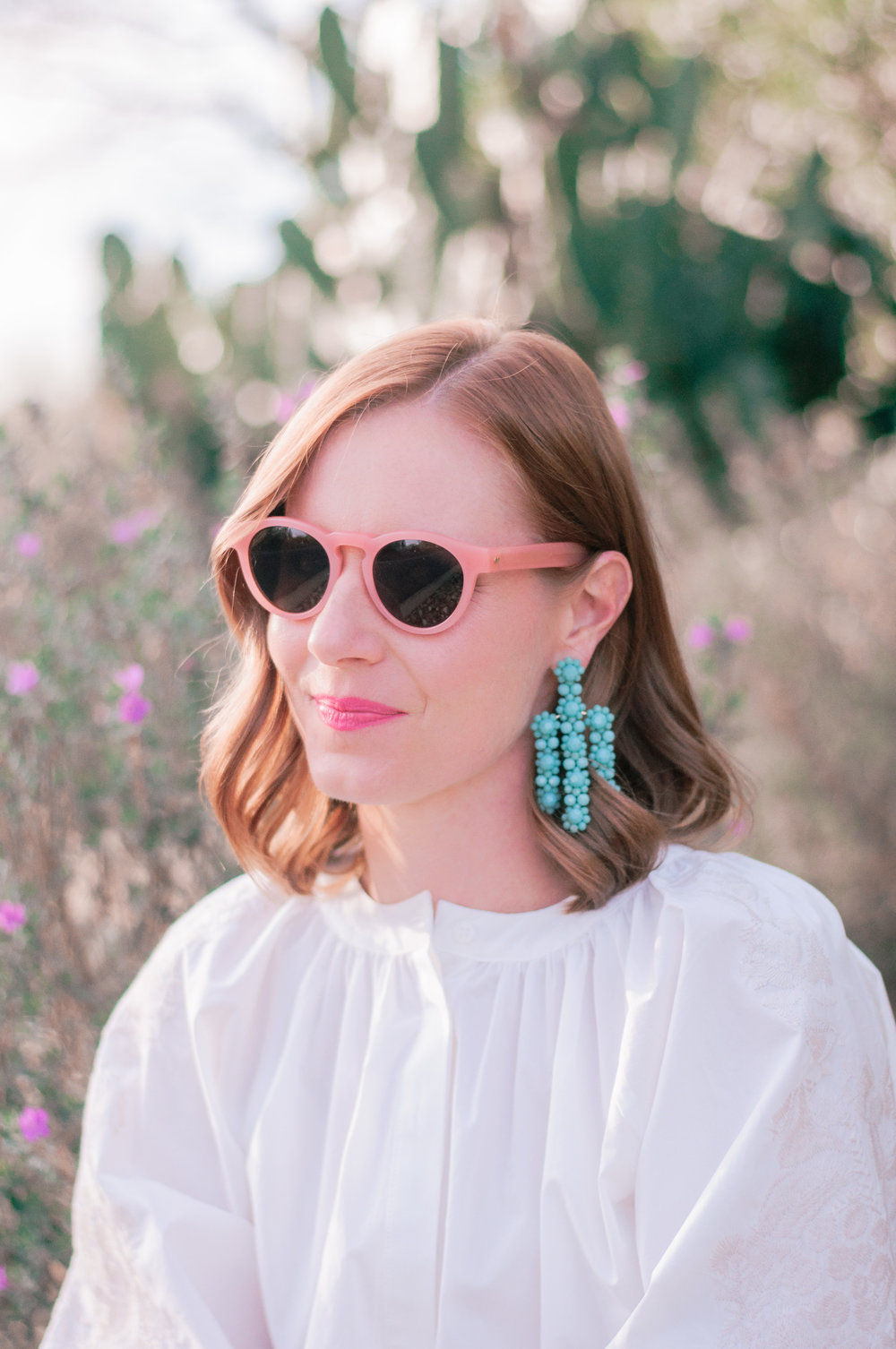 Kate Spade The Bead Goes On Statement Earrings in Turquoise, J.Crew Pink Sunglasses
