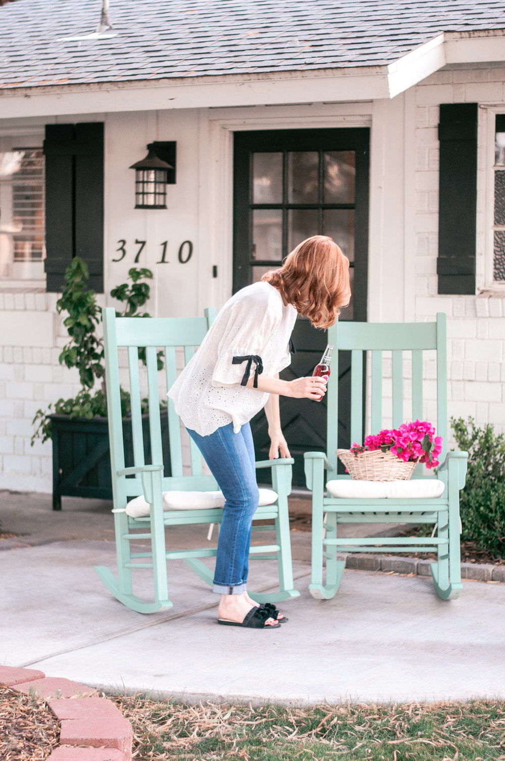 DIY Wooden Rocking Chair Makeover with Cushions for Front Porch