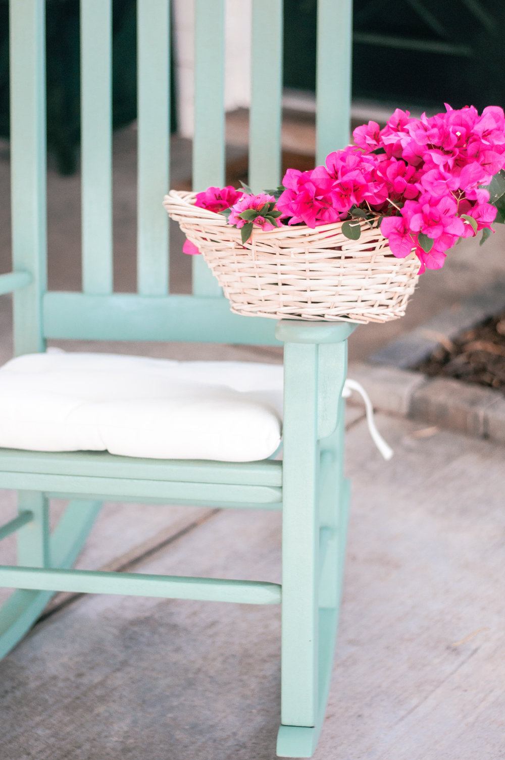 DIY Painted Front Porch Rocking Chair Makeover using Behr Marquee Paint in Mossy Bench