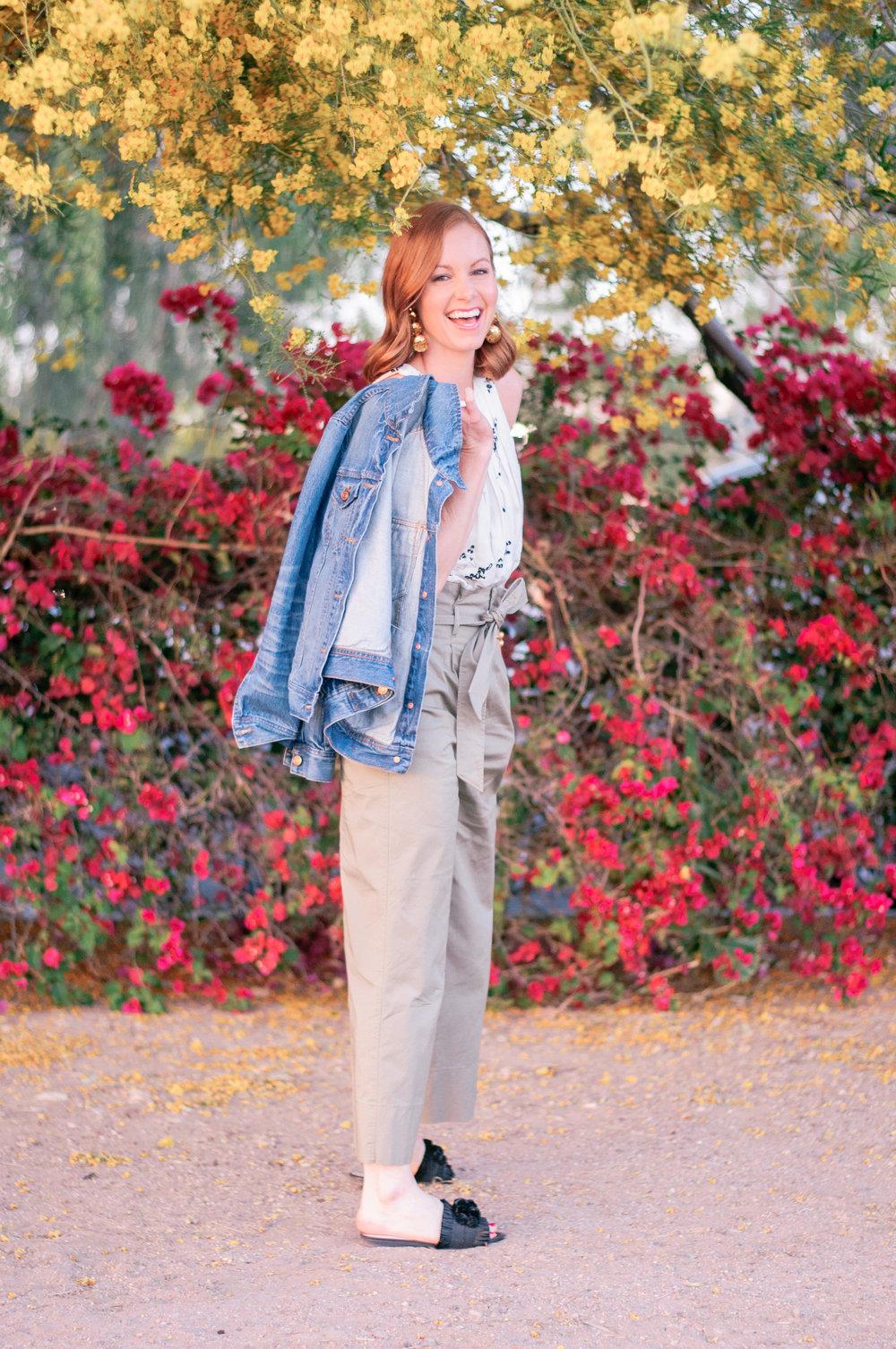 Women's High Rise Wide Leg Cropped Pants