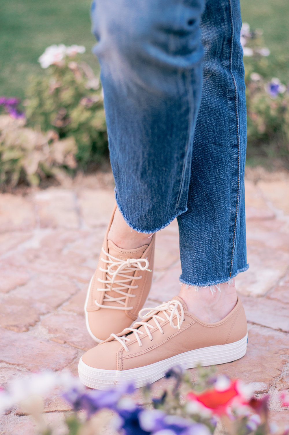 Cute Womens Tan Leather Platform Sneakers