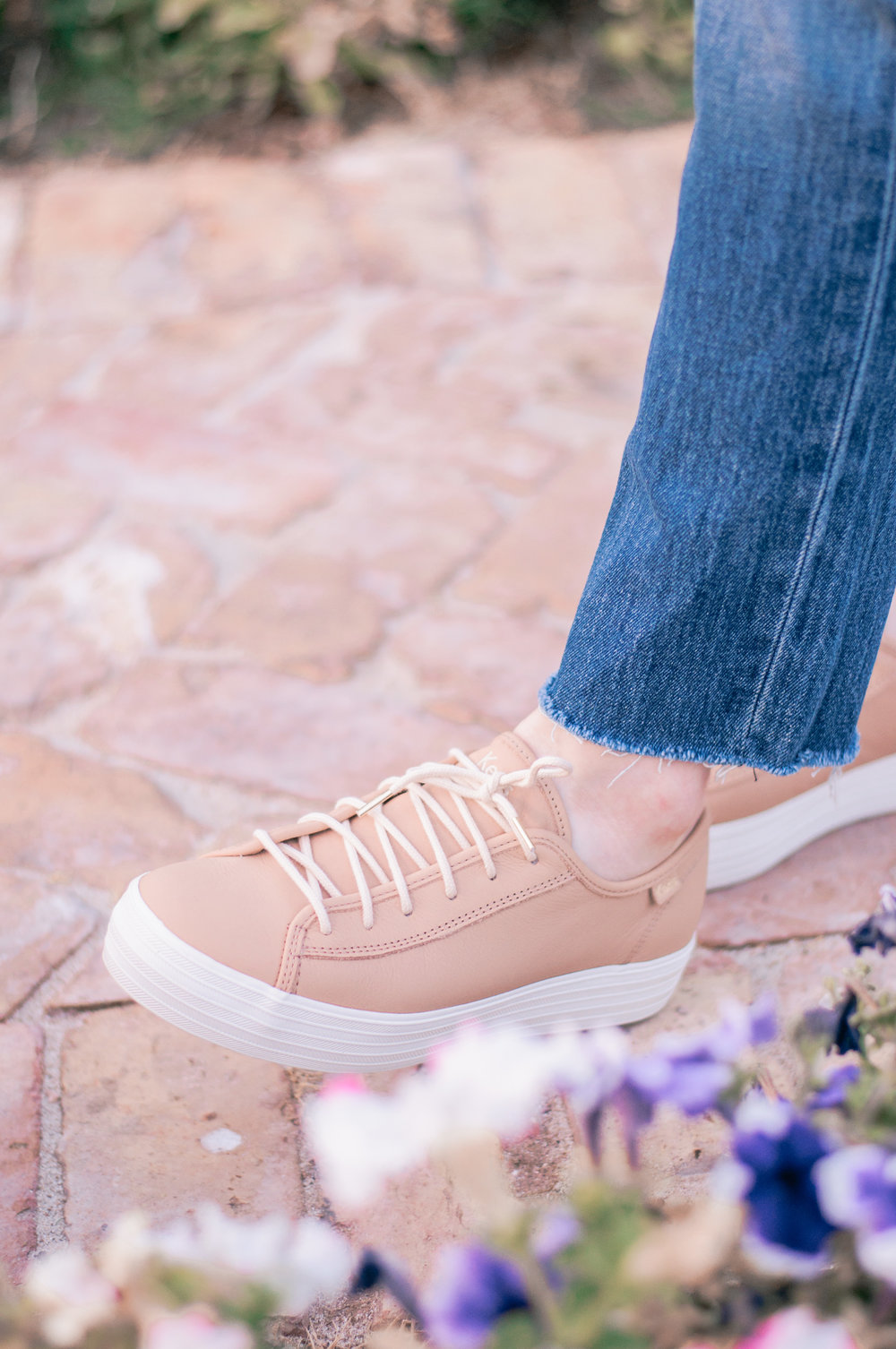 Keds Triple Kick Leather Platform Sneaker in Natural