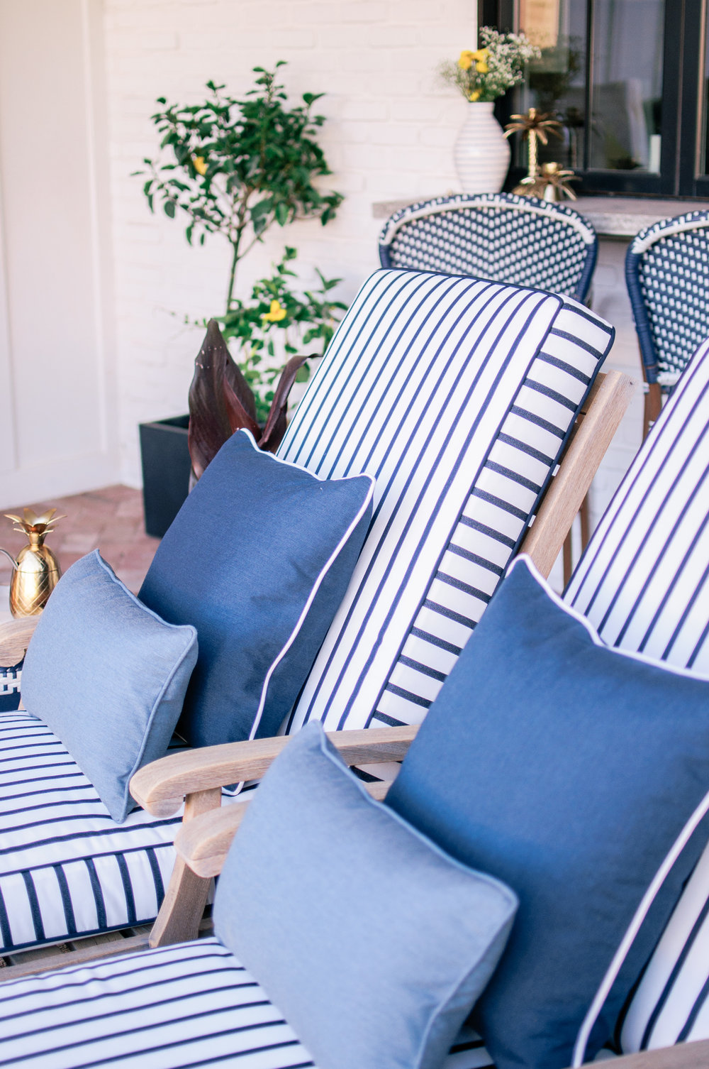 Blue and White Stripe Outdoor Cushions