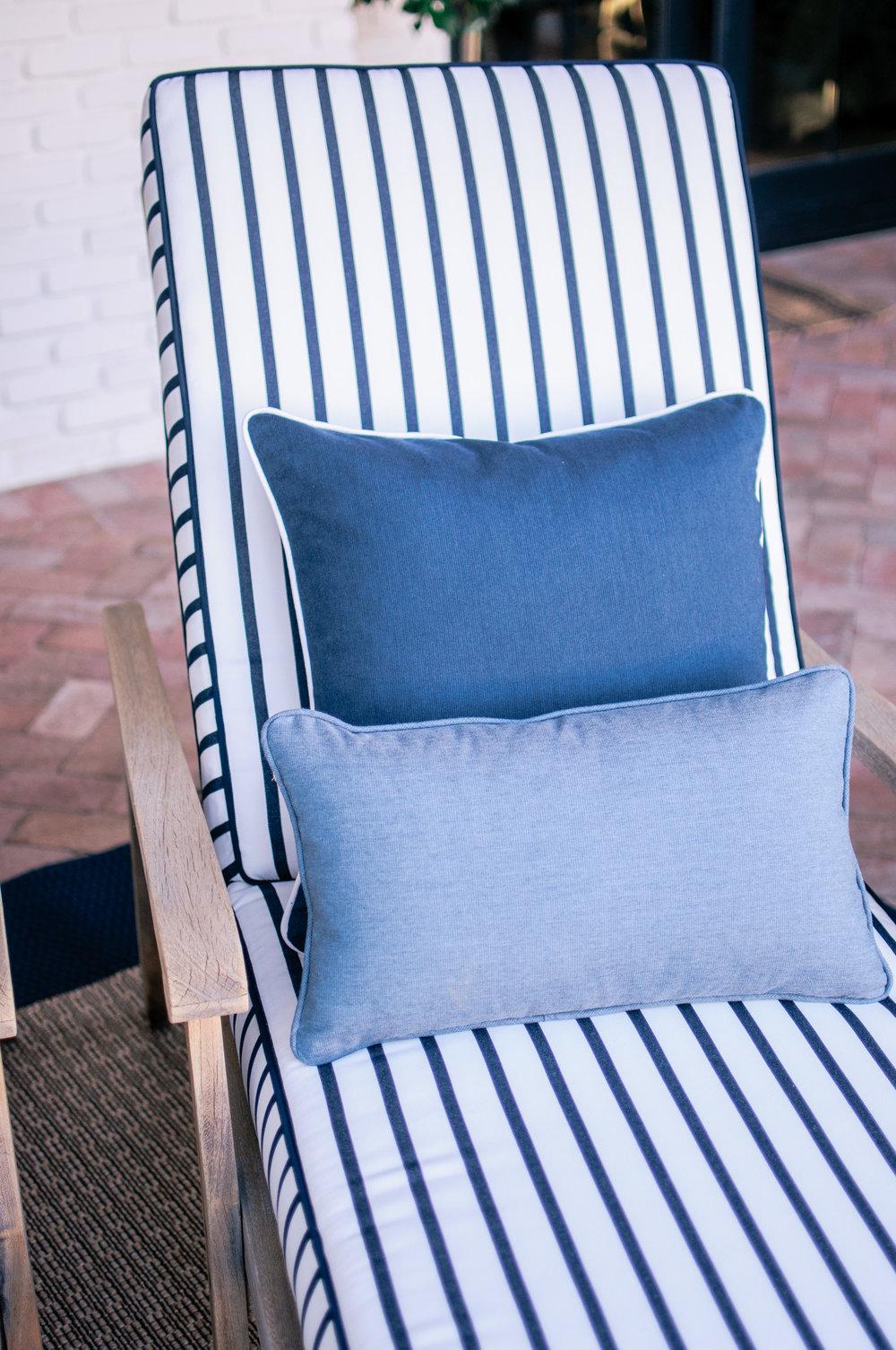 Calico Sunbrella Stripe Fabric Lido in Indigo
