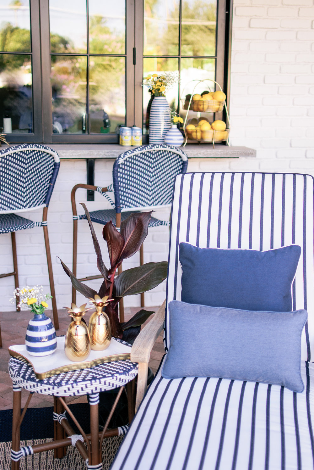 Blue and White Coastal Hamptons Style Outdoor Patio