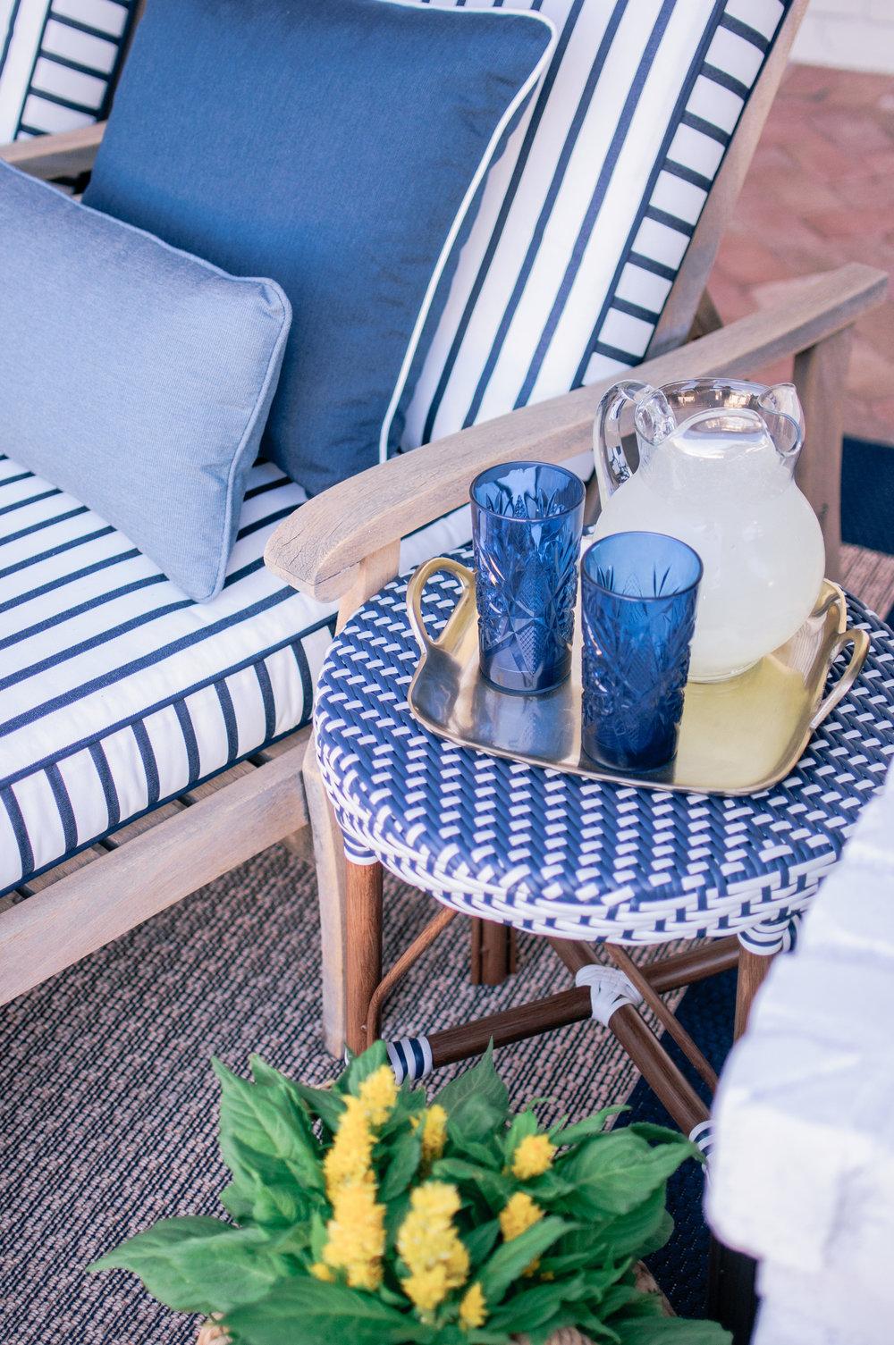 Blue and White Hampton Style Outdoor Patio Decor