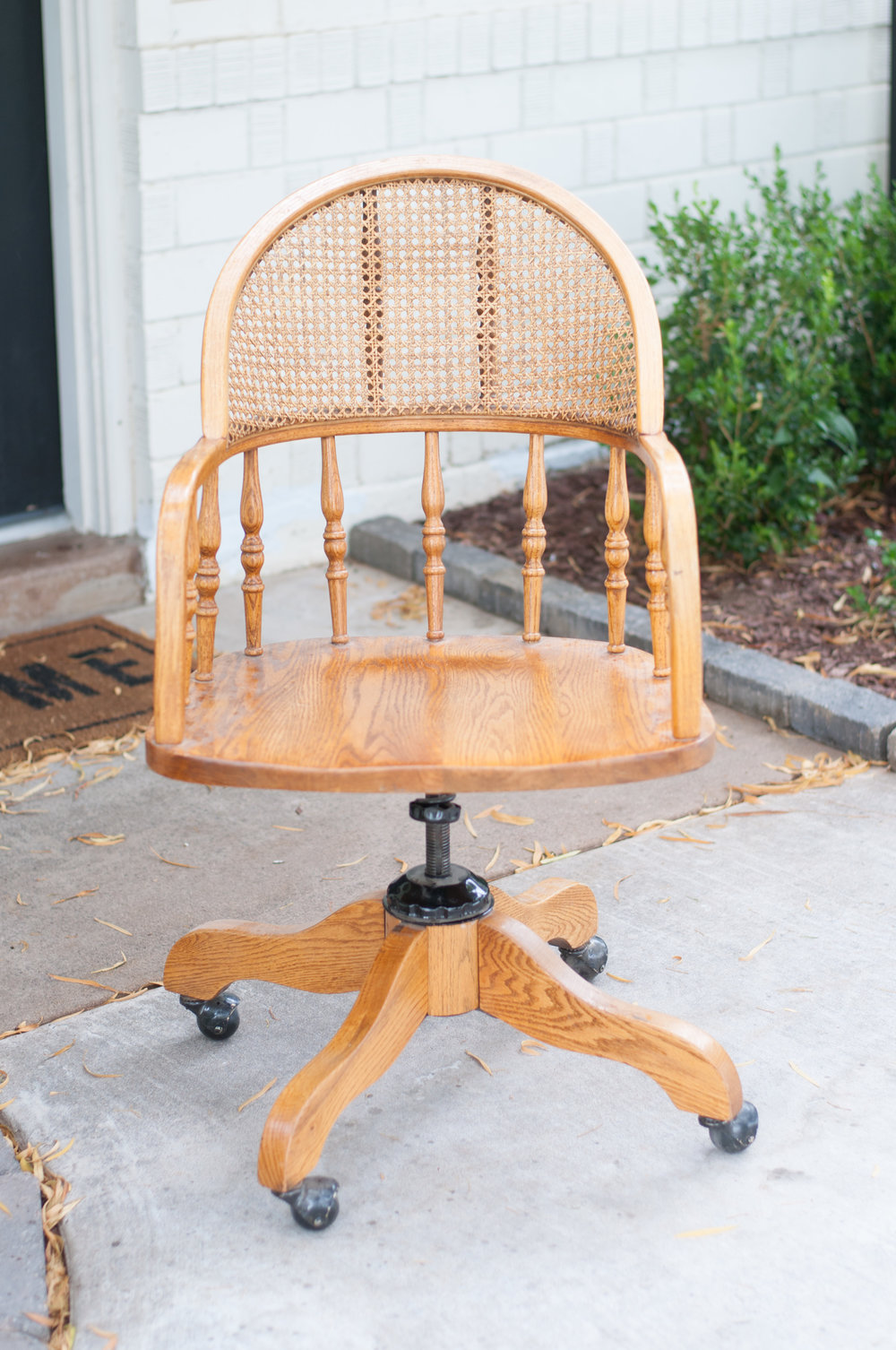 DIY White Wood Cane Chair Makeover