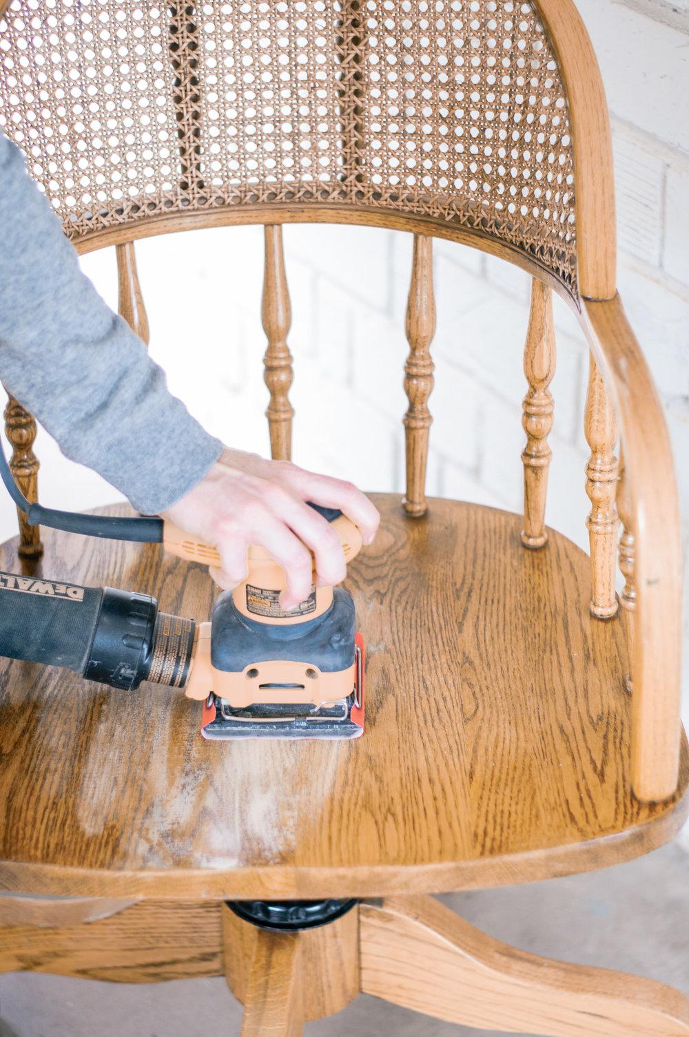 DIY Cane Wood Chair Redo