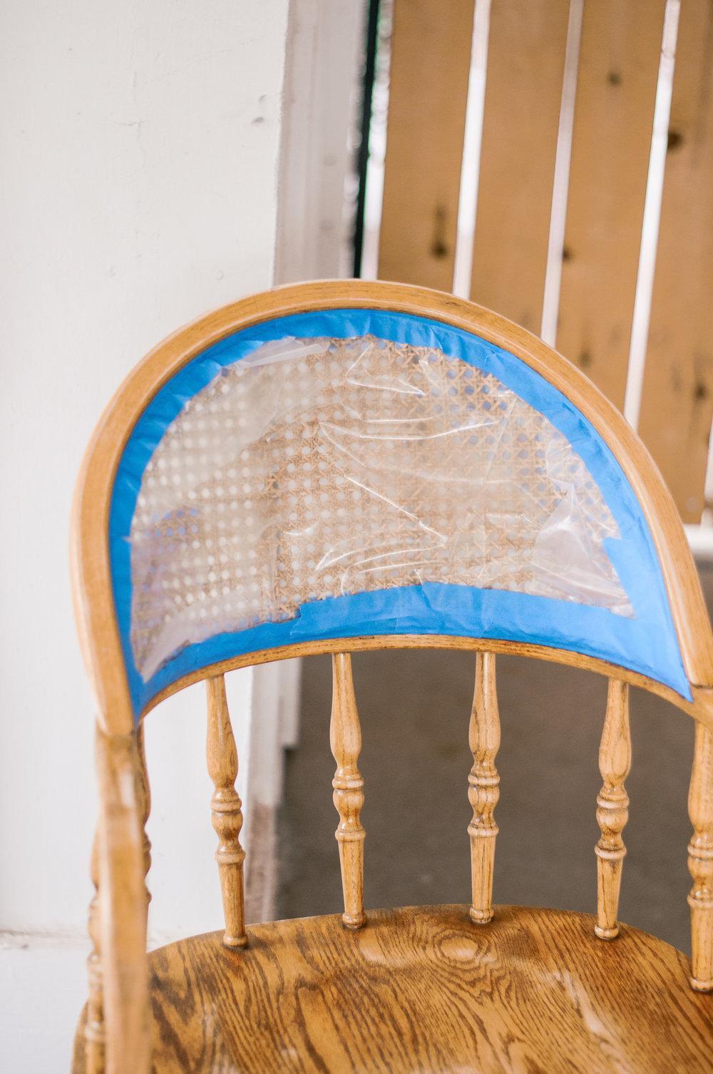 DIY Painted White Farmhouse Cane Chair