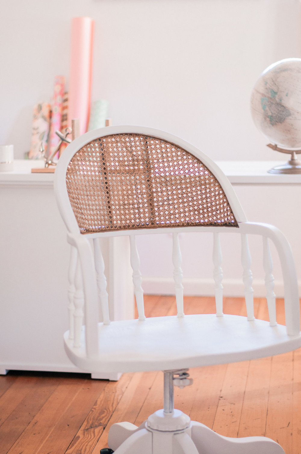 DIY Painted White Cane Chair Redo