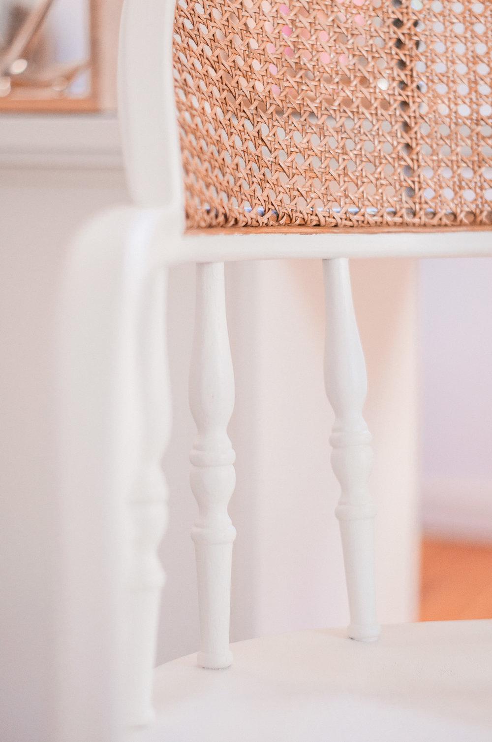 Painted White Farmhouse Cane Chair