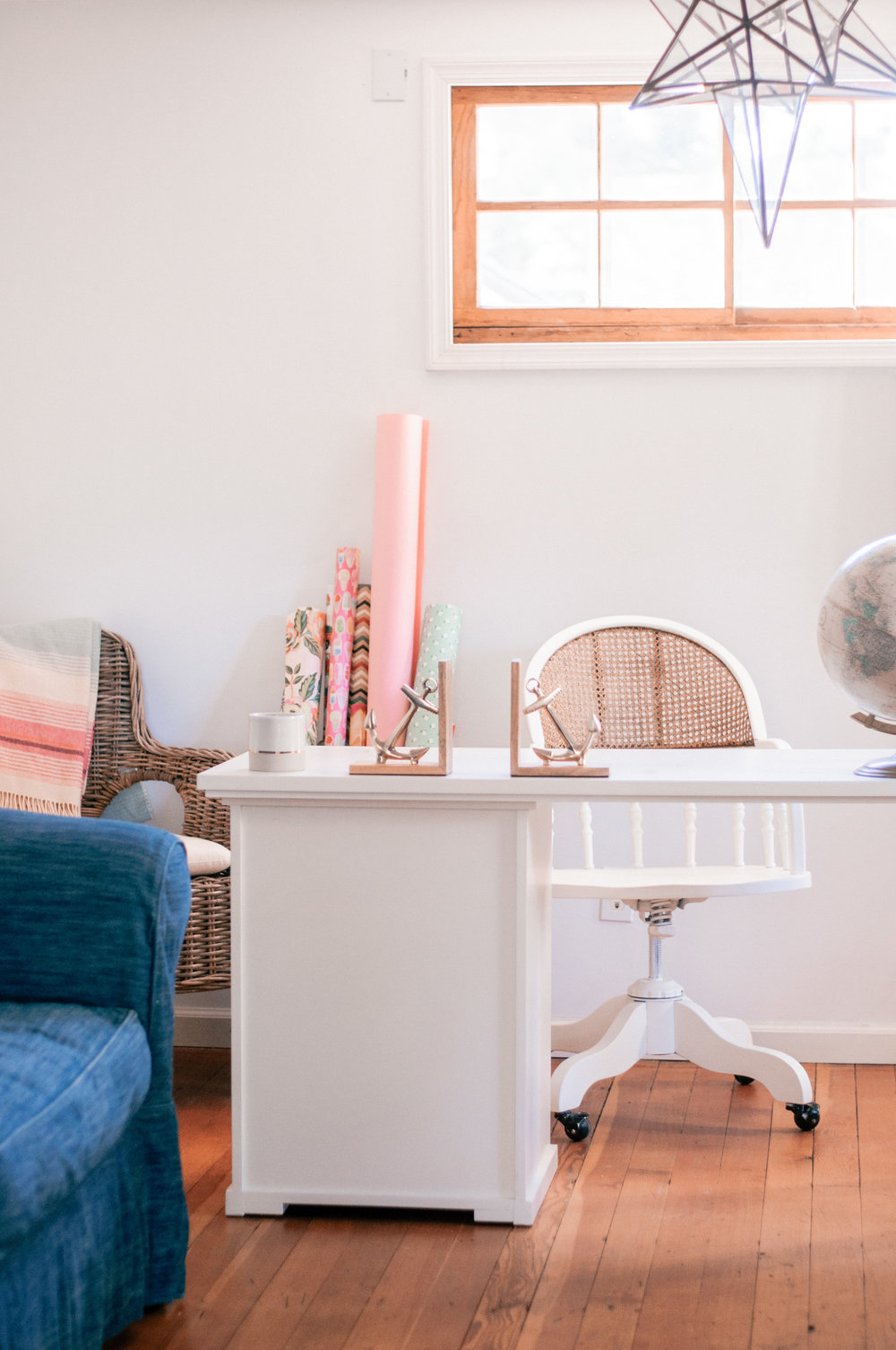 DIY Painted White Cane Chair Makeover