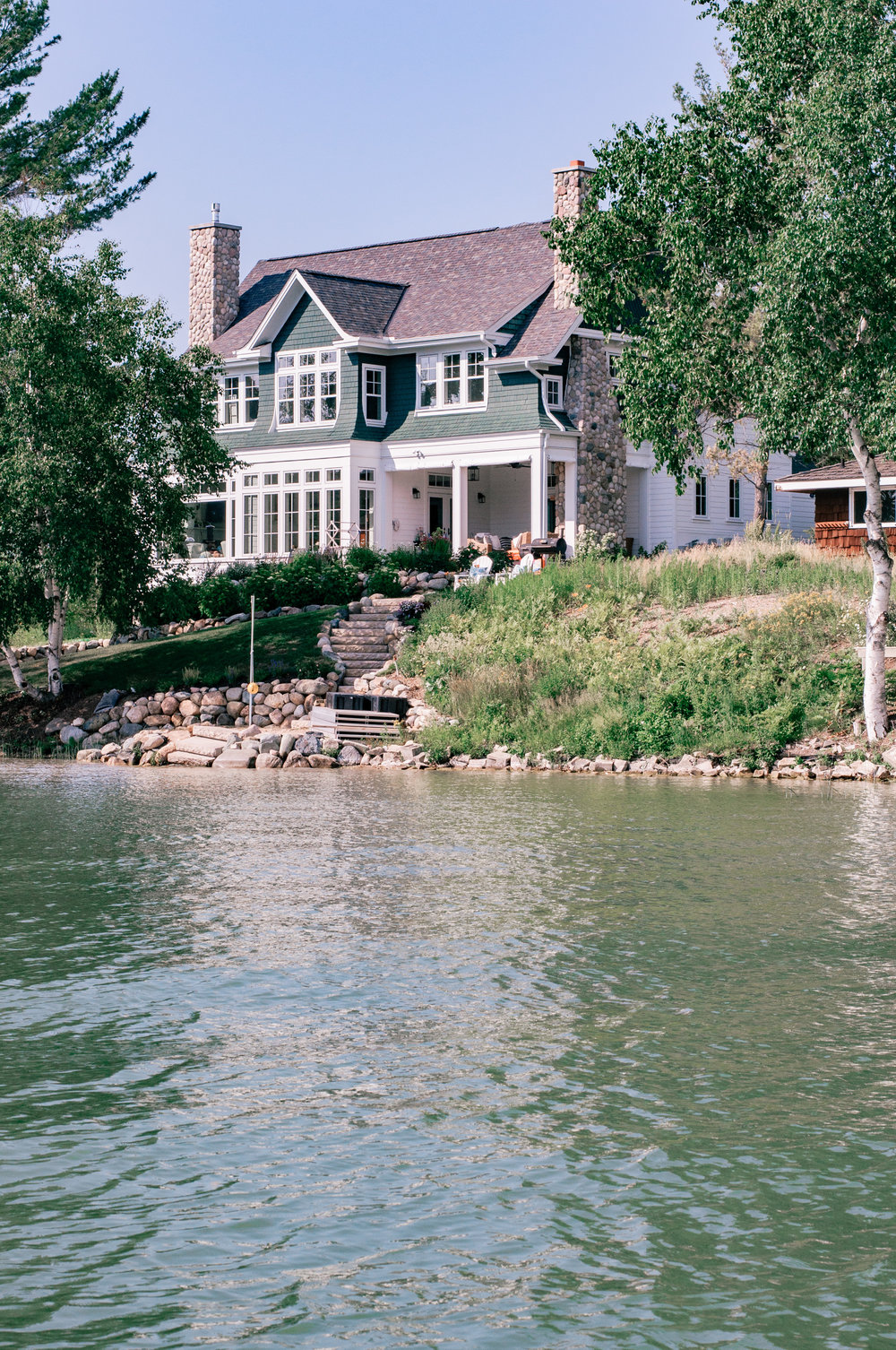 cottage exterior style on the lake