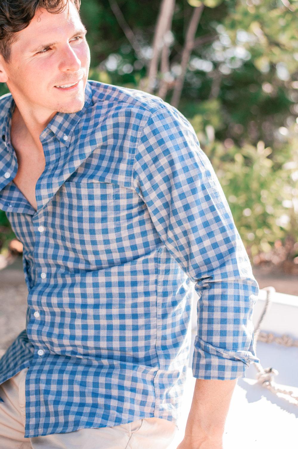 Men's Blue Gingham Shirt
