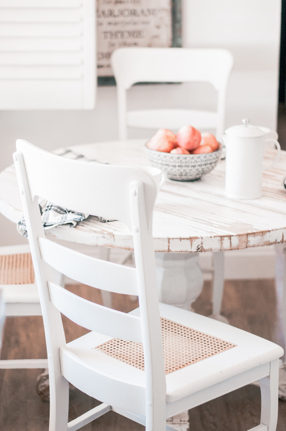 Wooden Cane Farmhouse Dining Chair Makeover