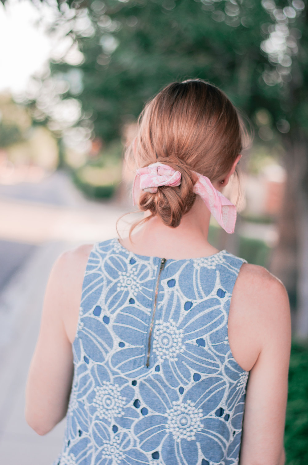 Cute Scarf Hairstyle With Easy Messy Bun