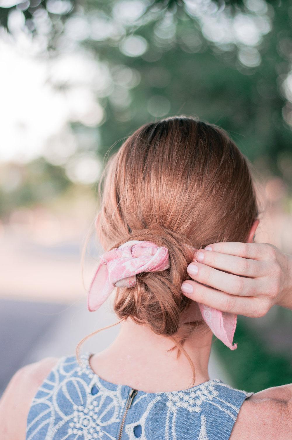 Cute Easy Scarf Bun Hairstyle