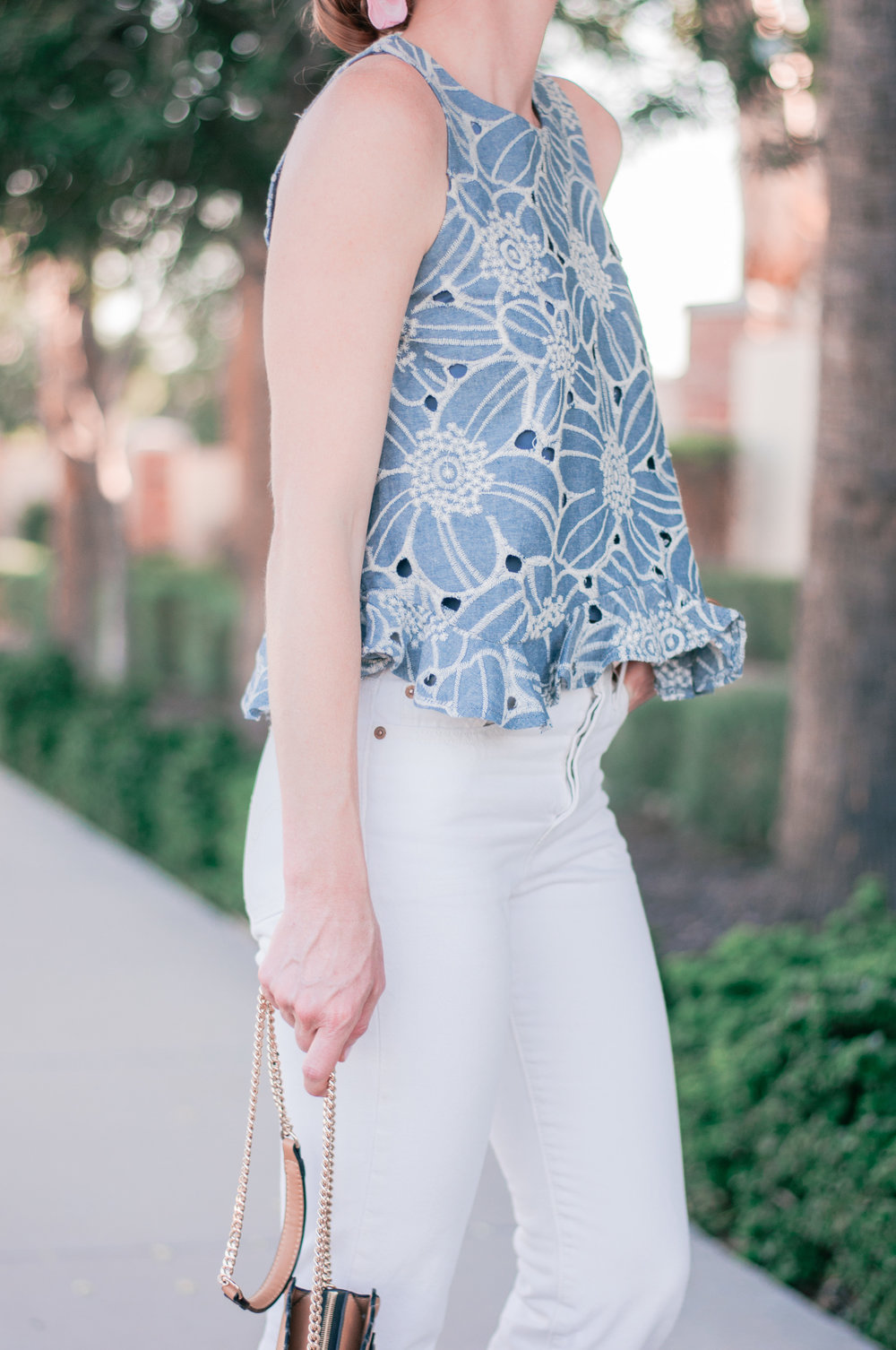 Anthropologie Chambray Ruffle Top for Fall